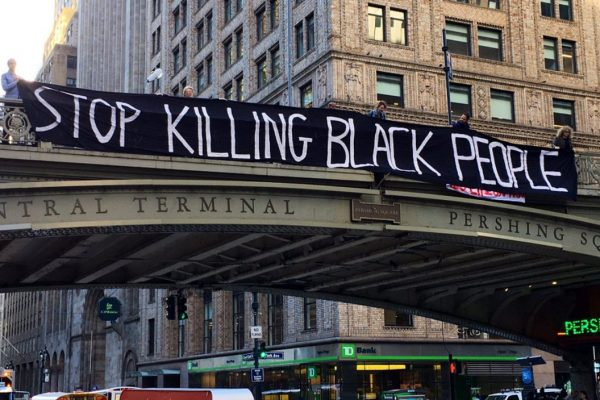 """Banner that reads """"Stop Killing Black People"""""""