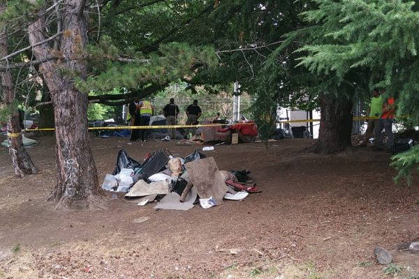 Homeless camp sweep in the U District, Seattle